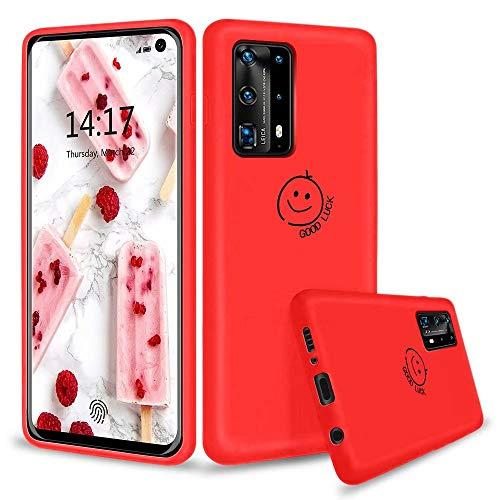 KSHOP Kompatibel mit Hülle für Huawei P40 Pro Plus/Huawei P40 Pro+ 5G + inbegriffen Panzerglas Flüssige Silikon Ultradünn TPU Handyhülle Kratzer/Staubdichte Elegante Schutzhülle - Rot