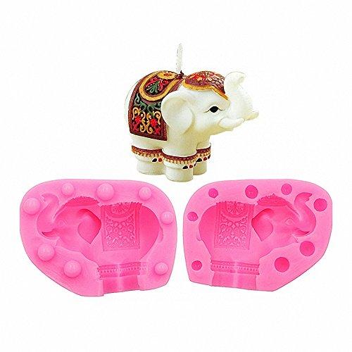 MoldFun 3D - Molde de silicona con diseño de elefante indio para baby shower, chocolate, dulces, gelatina, fondant, vela, jabón, bomba de baño