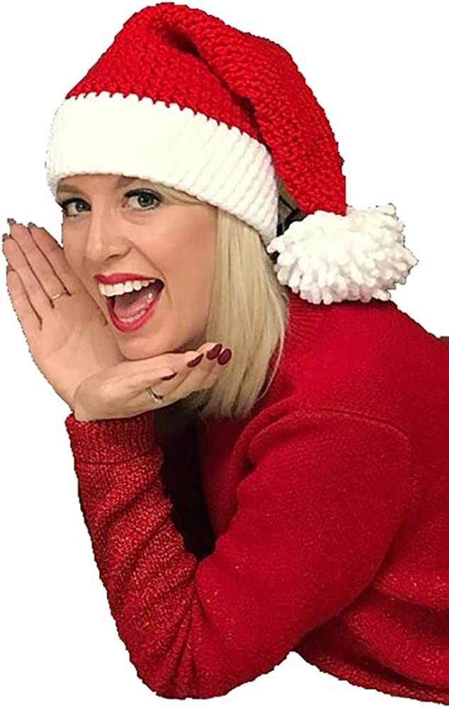 Santa's Hat Womens Beanie Winter Hat Girls Soft Slouchy Warm Hand Knitted Skull Cap Christmas Hat for Men