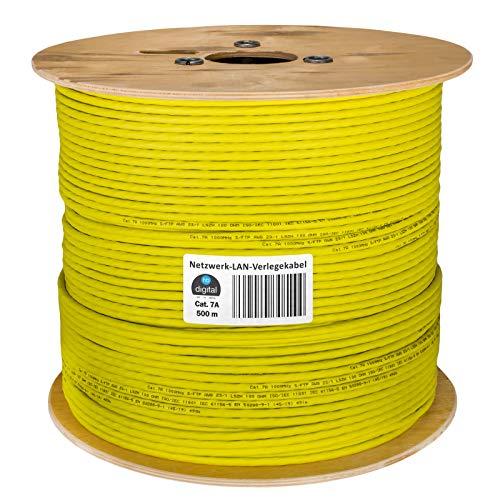 HB-DIGITAL 500m cat.7A Netzwerkkabel LAN Verlegekabel AWG 23/1 Gelb Cable cat 7 Kupfer Profi S/FTP PIMF LSZH Halogenfrei RoHS-Compliant Cat7a cat.7 a Ethernet Datenkabel 10Gbit 1000MHz 10 Gigabit