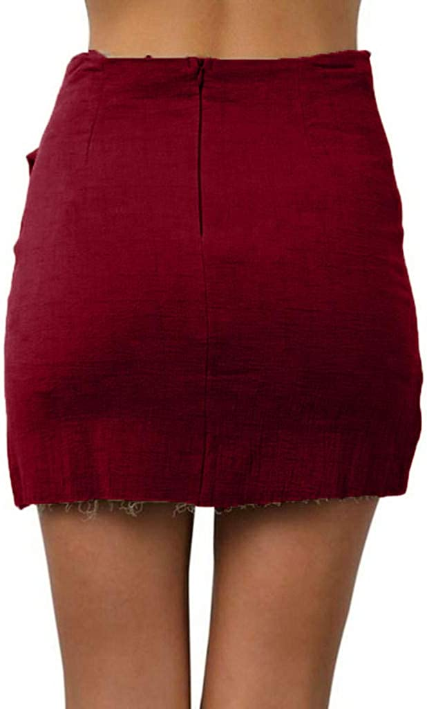 Summer Womens Pencil Skirts Fashion Casual Solid Color High Waist Lace-Up Short Beach Mini Wrap Skirt (L, Wine)
