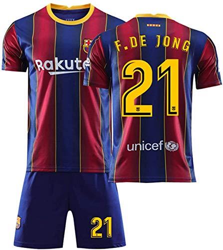 Yushoe Barcelona Jersey 20/21 Home Messi FC Men's Children's Soccer T-Shirt Sets,F.de Jong 21,S