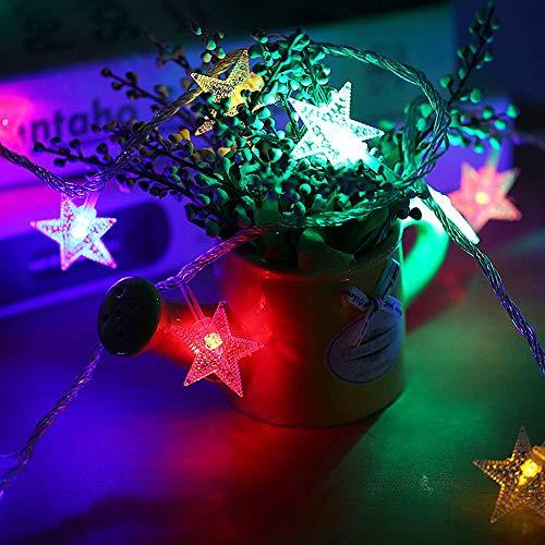 Sterne Lichterkette, Zorara 40 Stück Führte Stern nacht schnur lichter 20Ft / 6M Mehrfarbig Dekorationslicht Weihnachtsbaum Lichter Lichterketten für Innen/Außen Weihnachten Dekoration (Mehrfarbig)