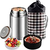 Flantor Food Jar for Hot Food,Stainless Steel Thermal Food Flask for Ice Snack,BPA Free Lunch Box with Handle Lid,Leak Proof Double Wall Vacuum Insulated Soup Container (Silver)