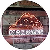 Man Cave Decoration Boy Room Den Garage Display Dual Color LED看板 ネオンプレート サイン 標識 白色 + オレンジ色 600 x 400mm st6s64-i3069-wo