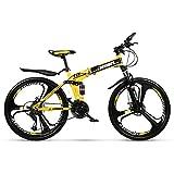 AminBike Vélo de Montagne Pliable Vélo de Course Pliant VTT 21 Vitesses Shifter à Double Freins à Disque Fold Up Travel Cycling 26 Pouces de Pneu (Noir Jaune)