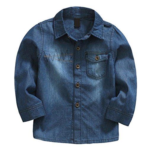 LSERVER LSERVER Jeanshemd Kinder Jungen Mädchen Bluse Langarmshirt Top Outdoor Wear,Dunkelblau,98