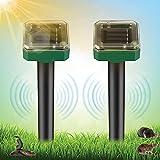Vivibel Ahuyentador solar de topos, ultrasónico, IP56, resistente al agua, para roedores, para el jardín