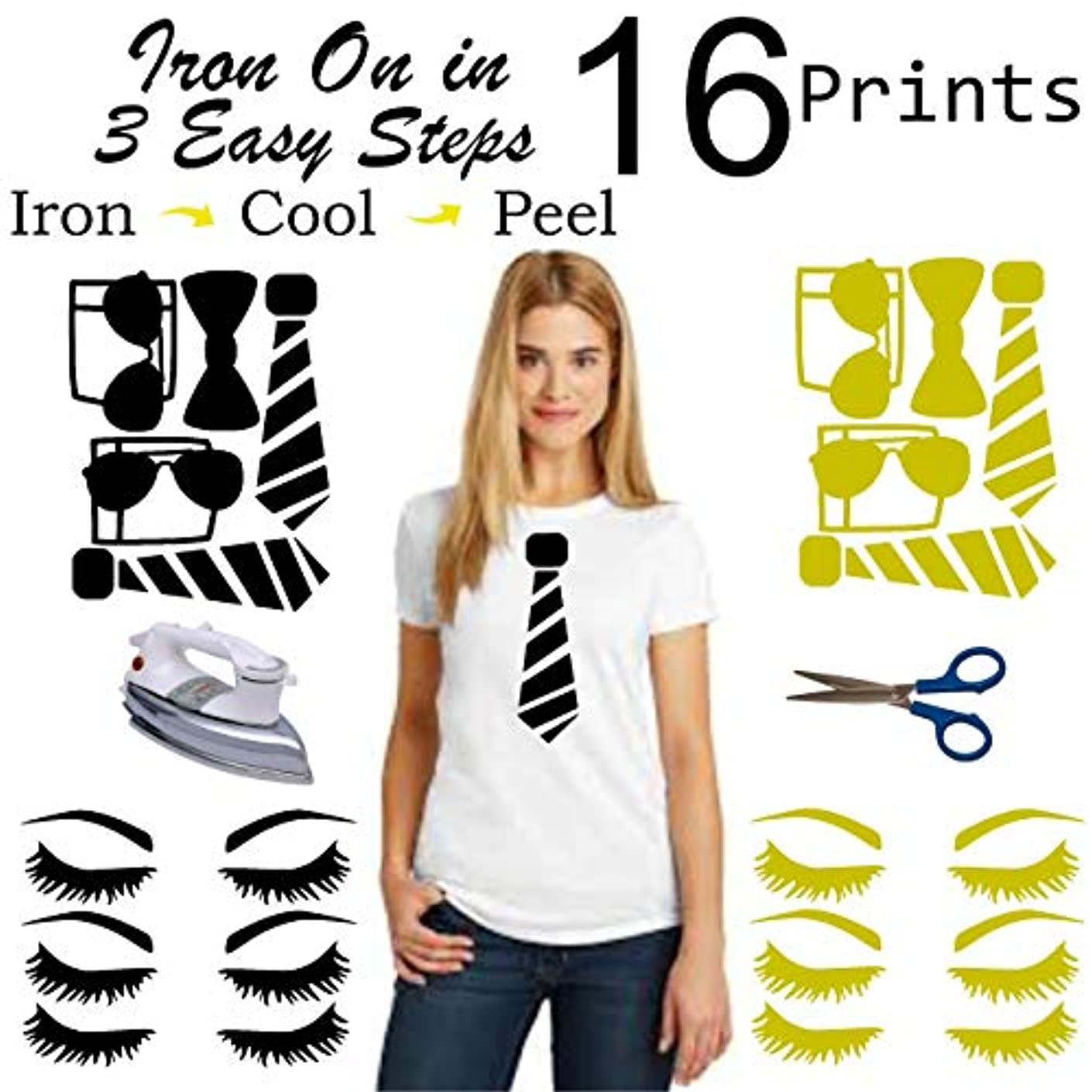 Optical Illusion Shirt for Men, Women Or Kids - 16 Prints Iron On Heat Transfer Vinyl | Easy To Use | Trendy | Savings