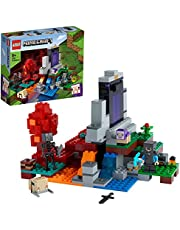 LEGO 21172 Minecraft The Ruined Portal Toy med Steve och Wither Skelettfigurer, byggset för barn över 8 år