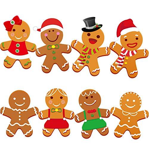 40 Stücke Winter Weihnachten Mini Lebkuchen Ausschnitte Vielseitige Klassenzimmer Dekoration Lebkuchen Ausschnitte mit Klebe Punkten, 5,9 x 5,9 Zoll