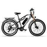 Cyrusher XF900 750W Motorstyle Electric Bike 264 Fat Tire Mountain Ebikes 21 Speeds Snow Beach Electric Bicycles with 17ah Battery (White)