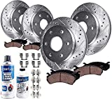 Detroit Axle - Front & 330mm Rear Drilled & Slotted Rotors + Ceramic Pads Replacement for Silverado Avalanche Suburban Yukon XL Sierra 1500 Tahoe with Dual Piston Rear Calipers - 10pc Set