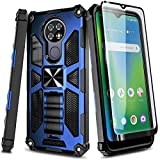 NZND Case for Cricket Ovation/AT&T Radiant Max (U705AC/U705AA) with Tempered Glass Screen Protector (Maximum Coverage), Full-Body Protective [Military-Grade], Built-in Kickstand, Heavy-Duty (Blue)