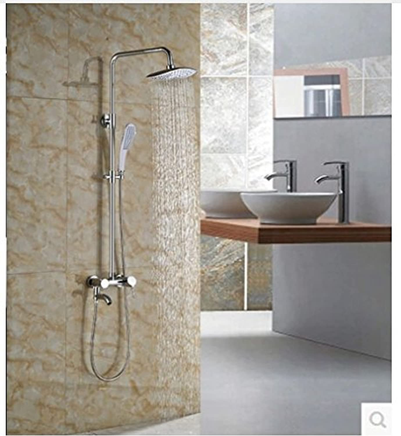 Gowe? Newly Brass Chorme Shower Set 8-in ABS Shower Head With Hand Shower Wall Mounted