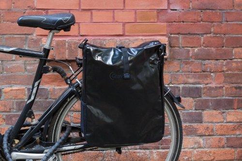 Packtasche Fahrradtasche Gepäcktasche Satteltasche aus LKW Plane NEUES MODELL Schwarz