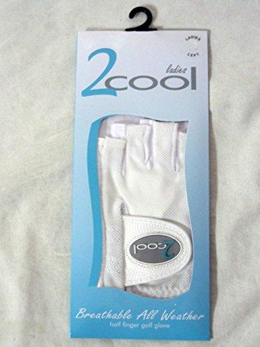 Quality Sports 2 Cool Half Finger Golf Glove (White, Left, Large, Ladies)