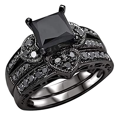 SEniutarm Engagement Love Rings Wedding Bands 2Pcs/Set Women Fashion Square Cubic Zircon Hearts Finger Rings Party Jewelry for Women/Girl Finger Rings DIY Jewelry Gifts - Black US 6