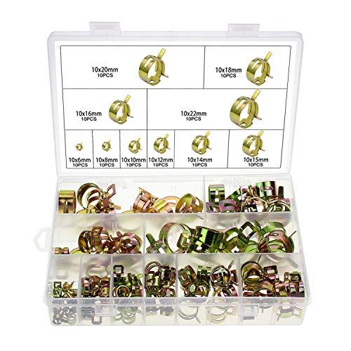 HSEAMALL 100 abrazaderas de manguera de resorte, clips de manguera de gasolina, tubo de aire de agua, abrazadera de manguera de vacío de silicona, 6-20 mm, 10 tamaños