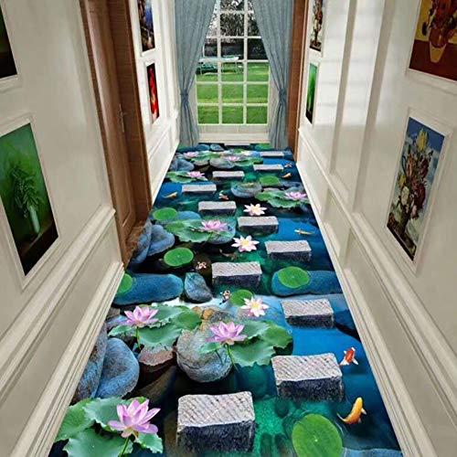 Alfombra de corredor moderna de tamaño personalizado 3D tridimensional Lotus Pond tema para pasillo entrada vestíbulo cocina, antideslizante de látex con respaldo de goma