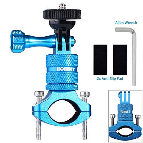 Homeet Fahrrad Halterung für Actionkameras, 20mm-35mm Lenker Kamerahalterung 360 Grad Motorrad Fahrradhalterung Halterungen für Garmin SJCAM Akaso YI 4K Victure Crosstour Apeman, Blau