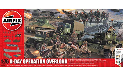 Airfix D-Day Operation Overlord 1:76 WWII Military Diorarama Plastic Model Kit Set A50162A, Multicolor
