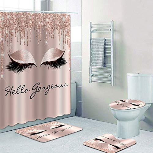 AIDEMEI Girly Rose Gold Eyelash Makeup Shower Curtain Bath Curtain Set Spark Rose Drip Bathroom Curtain Eye Lash Beauty Salon Home Decor 70X70 Inch