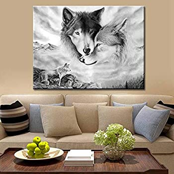 Wolf Canvas Prints Wall Art Abstract Poster Black and White Modern Art Decor Painting for Living Room Bedroom Home Decorations Unframed,16x20inches