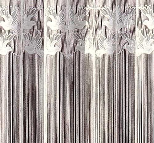 Fashion&Joy - Fadengardine Fadenvorhang mit Kräuselband & Stangendurchzug - mit Oberbordüre Motiv Vögel - Fadenstore weiß bunt coloriert viele Größen Gardine Vorhang Typ17 (HxB 150x150 cm, weiß)
