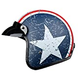 TOUKUI Casco de moto jet con cara abierta Captain Star, casco para moto vintage, piloto cafe racer helm summer@blanco, azul mate, talla L