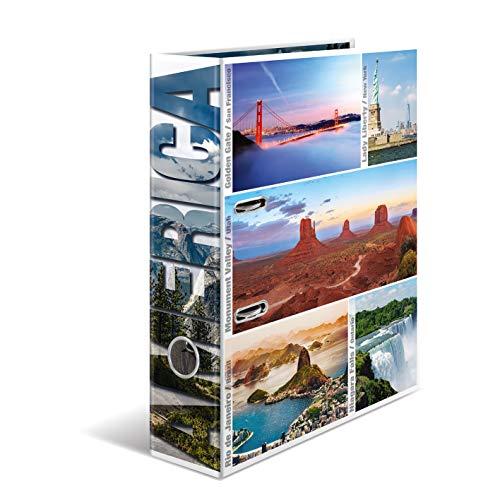 HERMA 7011 Motiv-Ordner DIN A4 Globetrotter America, 7 cm breit aus stabilem Karton mit Amerika Innendruck, Ringordner, Aktenordner, Briefordner, 1 Ordner