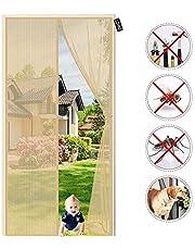 Horren voor deuren - Geen Kloof Balkon Insect Privacy Deur Scherm-Anti Mosquito Mesh Fly Gordijn Netten voor Kelder Keuken Woonkamer 90 x 205 cm Beige