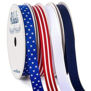 Ribbli 4 Rolls Patriotic Grosgrain Ribbon,3/8 Inches,Total 40 -Yards,Red/White/Blue/Navy,Stars and Stripes Ribbon,Use for Memorial Day Veterans Day 4th of July President s Day USA Decorations