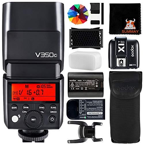 GODOX V350C Flash con X1T-C Disparador 2.4G HSS 1 / 8000s TTL GN36 2000mAh Ving Li-Ion Cámara Flash para Canon Cámara (V350C+X1TC)