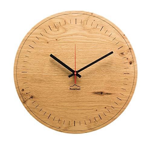 huamet. Wanduhr Holz Eiche AKKUHRAT, rund - Schlichtes Design, geräuschlos ohne Ticken - Qualitätsprodukt Made in Südtirol - CH80-A-1500
