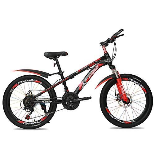 HUAQINEI Bicicleta de Exterior para niños de 22'21 velocidades Ajustable, para niños y niñas de 10 a 16 años, Rojo