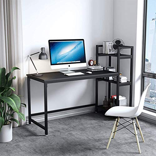Dripex Tower Computer Desk with Storage Shelves, Convenient Study Table with Bookshelves, Modern Steel Frame Wood Desk for Home Office and Writing, Black