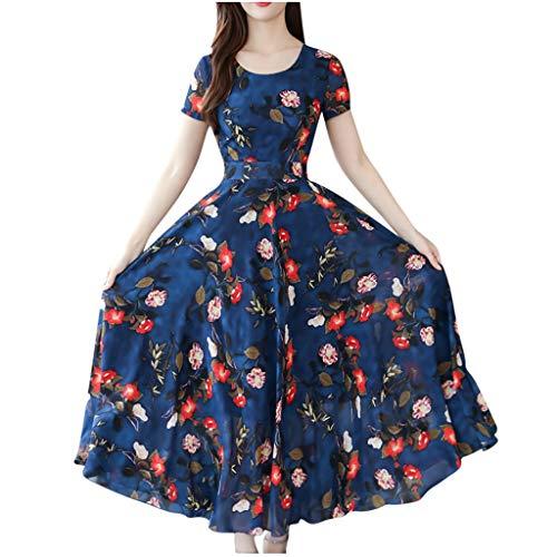 showsing-vrouwen kleding Womens Bloemen Print Wrap Jurken, Korte mouwen O-hals Taille Slim Lange Jurk, Mode Elegante Zomer Grace Mid-Calf Beach Jurk