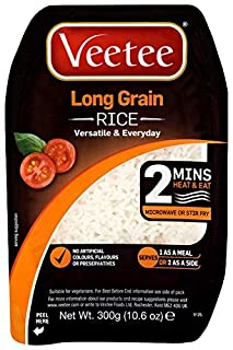 VeeTee - Long Grain Rice - Microwavable, Gluten Free Rice, 300g (Pack of 6) (B0042YIFD4) | Amazon price tracker / tracking, Amazon price history charts, Amazon price watches, Amazon price drop alerts