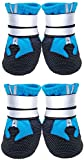 Dog Boots Waterproof with Safe Reflective Straps, Paw Protectors AdjustableAnti-Slip Sole, Outdoor Runing