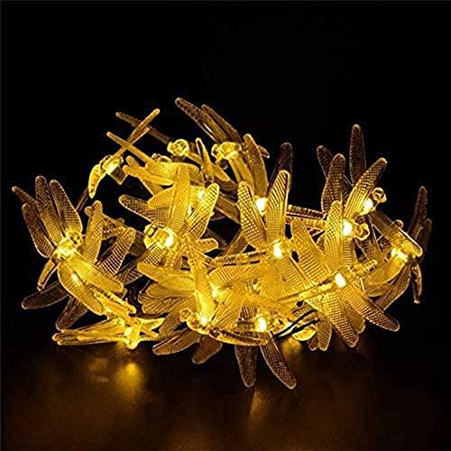 Yongen Farolillo LED solar con libélula, color cálido, 6,5 m, para exterior, impermeable, decorativo, para pared, jardín, patio, árbol de Navidad