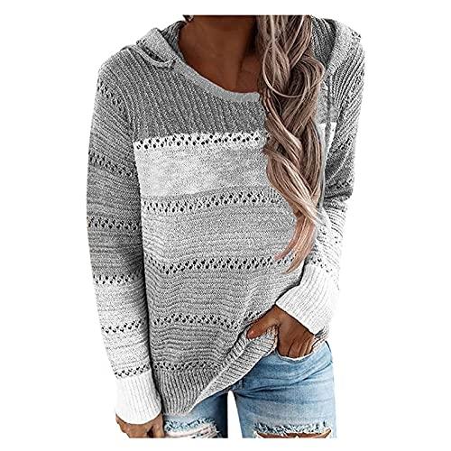 Wave166 Chaqueta con capucha para mujer, de punto, con capucha, patchwork, color bordado, a la moda, diseño hueco, cuello redondo, camiseta de manga larga, gris, L