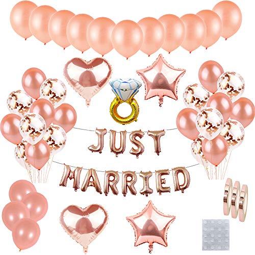 55 piezas Just Married de decoración para recién casados, juego de globos oro rosa letras helio papel aluminio guirnalda de banner, globo confeti para despedida de soltera compromiso de fiesta de boda