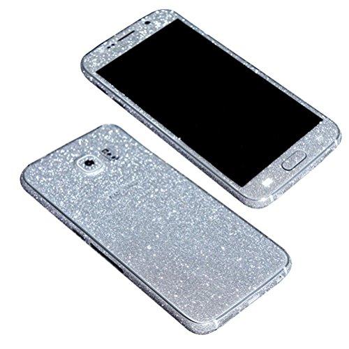 TheSmartGuard Glitzerfolie kompatibel für Samsung Galaxy S6 Folie Schutz Glitzer Glitter Bling Bling im funkelnden Silber