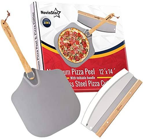 Aluminum Pizza Peel 12 Inch x 14 Inch Pizza Spatula Paddle with Foldable Handle for Easy Storage product image