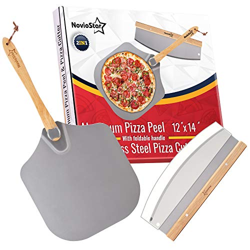 Aluminum Pizza Peel 12 Inch x 14 Inch - Pizza Spatula Paddle with Foldable Wooden Handle and Rocker Cutter Set - Paddle for Oven Stone - Accessories Kit for Pizza Baking and Slicing by NovioStar