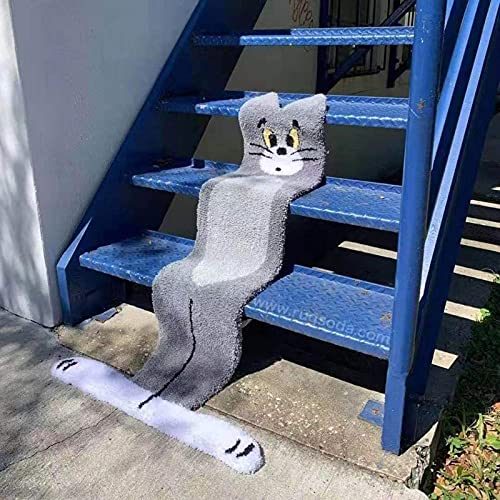 Treppen Teppich, Außendesign von Tom und Jerry, 2021 Treppenmatten Treppen rutschfest Selbstklebende Treppenteppich, Sicherheit Stufenteppich für Kinder, Älteste und Haustiere 70 * 120cm Grau