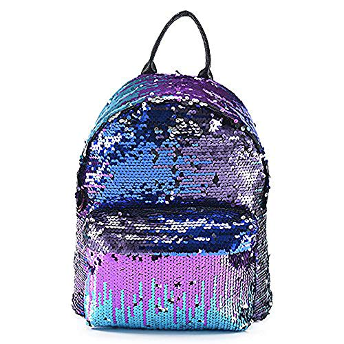 AllRight Girls Sequins Backpack Glitter Bling Rucksack School Travel Daypack Shoulder Bag (Blue)