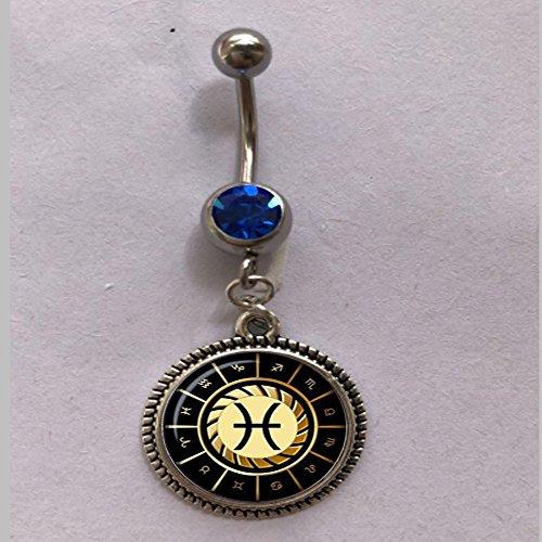 qws Anillo de vientre Piscis, anillo de vientre Piscis, joyería de Piscis, anillo de signo del zodiaco, joyería de constelación, regalo de arte para hombres para mujeres