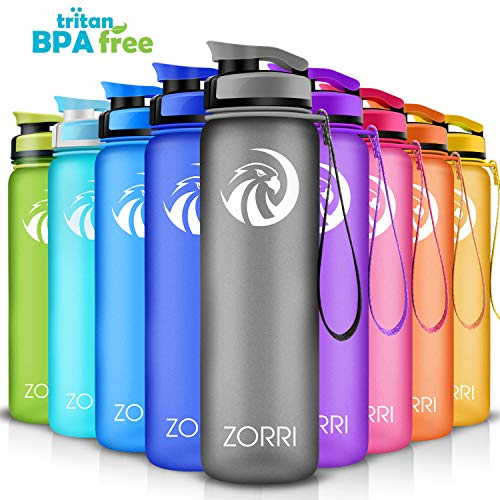 ZORRI Best Sports Water Bottle- 800m/28oz- Leak Proof BPA Free with Flip Top Lid&Filter&1-Click Open&Clean Brush&Time Making, Eco-Friendly Handy Drink Bottles for Outdoors/Running/Camping/Gym